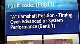 P0011: помилка положення розподільного (синхронізація або продуктивності системи)